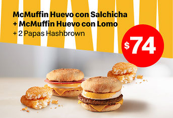 2 McMuffin + 2  Papas HashBrown por $74