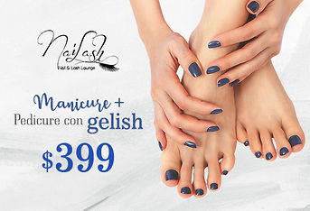 Manicure + Pedicure con gelish $399