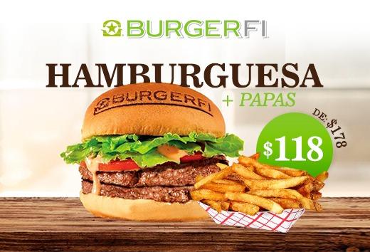 Hamburguesa + papas a $118