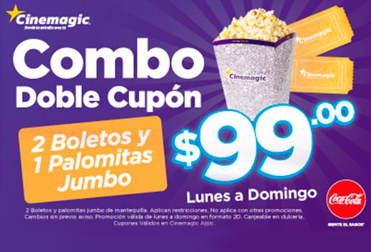 2 boletos + palomitas jumbo $99