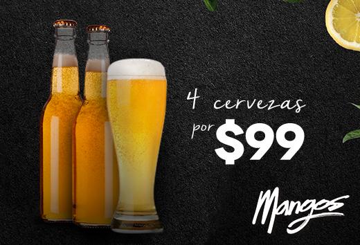 4 cervezas por $99