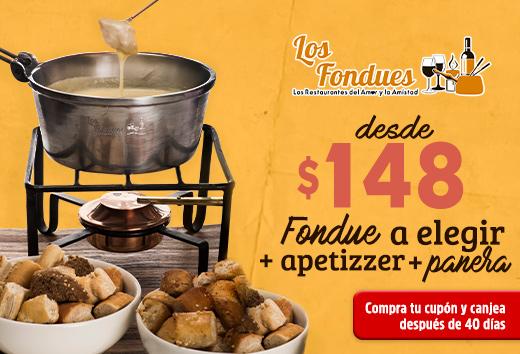 Fondue a elegir + apetizzer+ panera desde $148