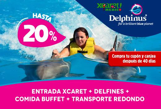 Entrada Xcaret + Delfines + Buffet + Transporte redondo