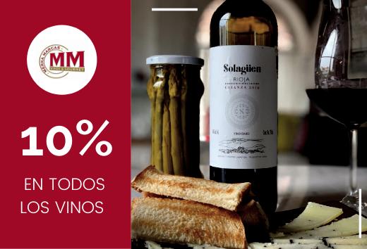 10% en todos los vinos