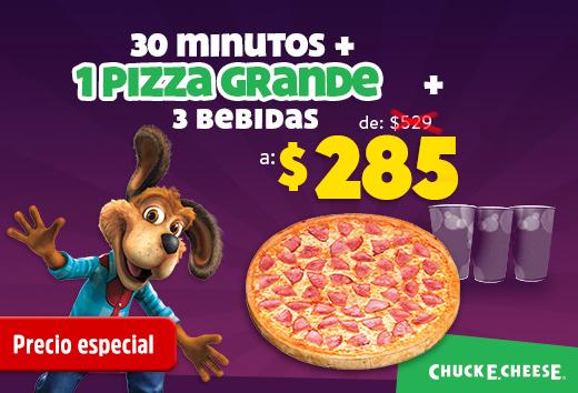 1 pizza grande + 3 bebidas + 30 min $285