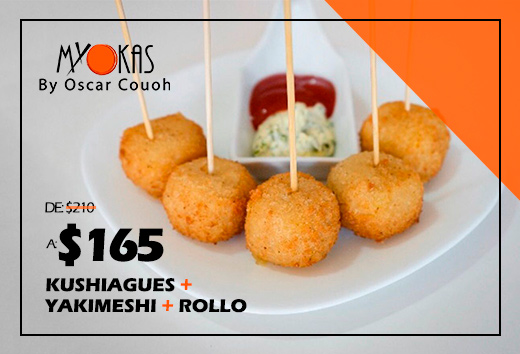 Kushiagues + yakimeshi + rollo $165