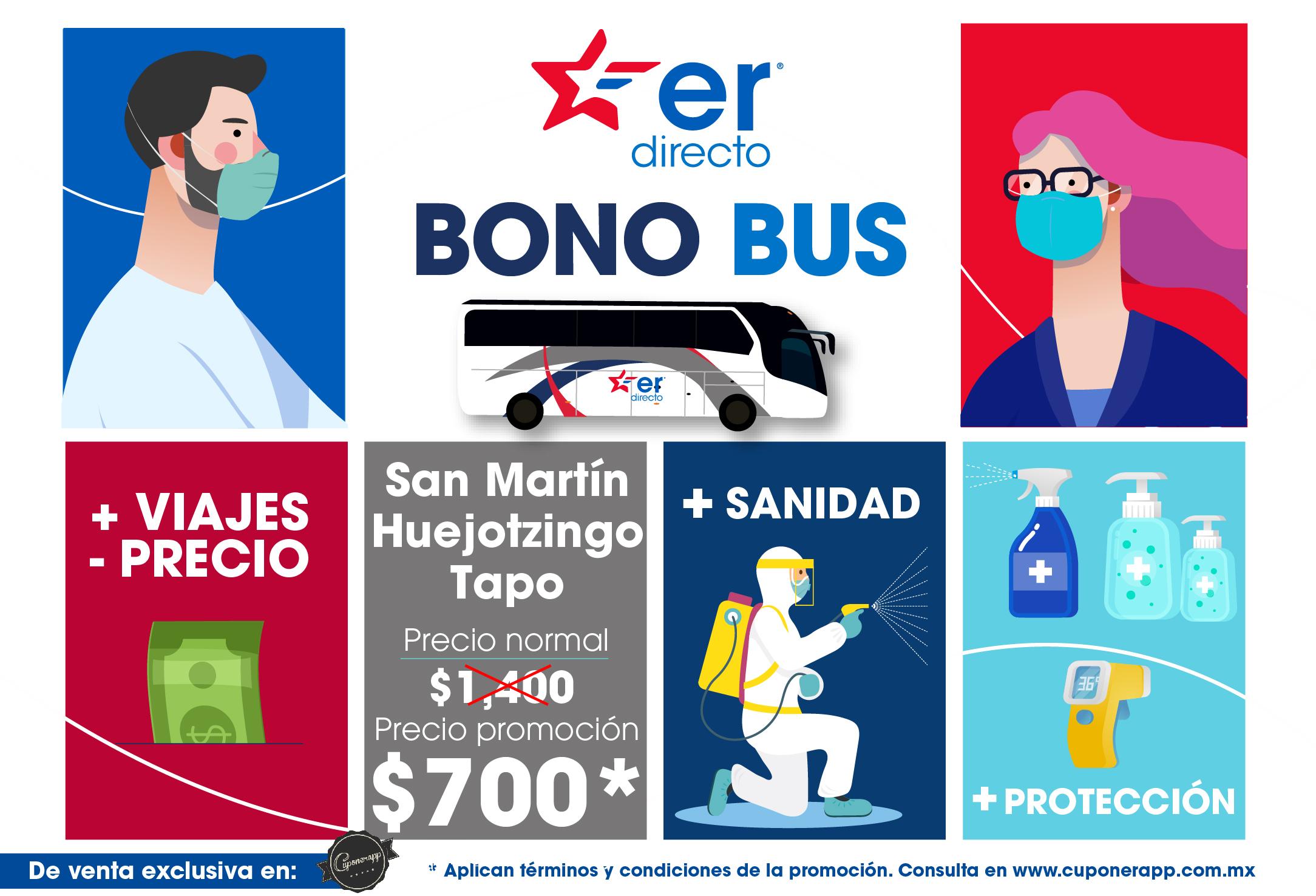 50% de descuento en 10 viajes directo San Martín y Huejotzingo