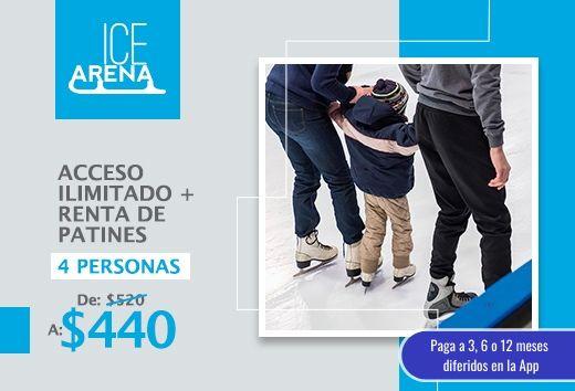 Acceso ilimitadocon renta de patines para4 personas $440