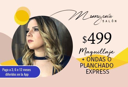 Maquillaje + ondas o planchado express $499