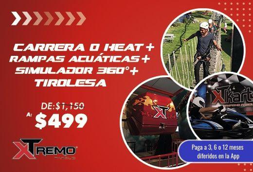 Carrera o Heat + Tirolesa + Simulador 360° + Rampas Acuática