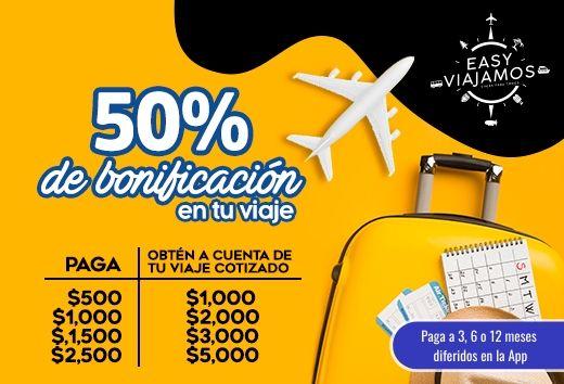50% de bonificación en tu viaje