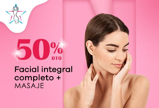 50% facial completo + masaje