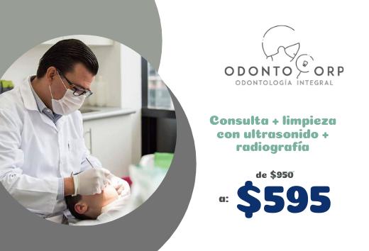 Consulta + limpieza + radiografía $595