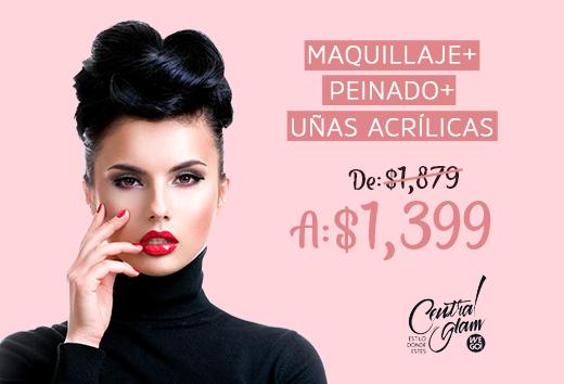 Maquillaje + peinado + uñas acrílicas $1,399