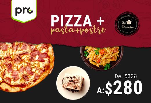 Pizza + pasta + postre$280