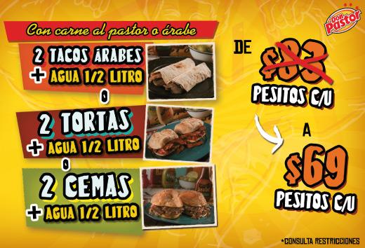 2 tacos, tortas o cemitas + bebida $69
