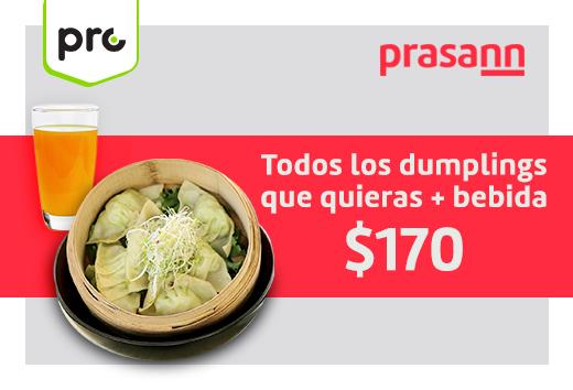 Todos los dumplings que quieras + bebida $170