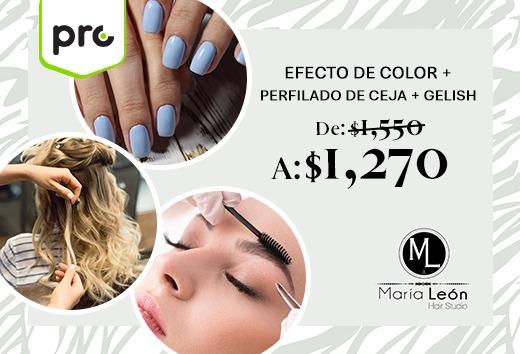 Efecto de color + perfilado de ceja + gelish $1,270