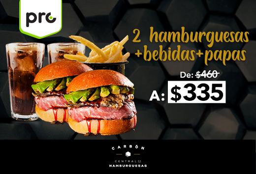 2 hamburguesas + 2 bebidas + papas $335