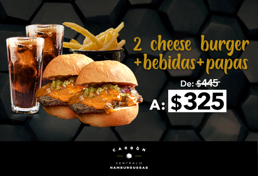 2 cheese burger + 2 bebidas + papas $325