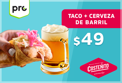 Taco + cerveza de barril $49