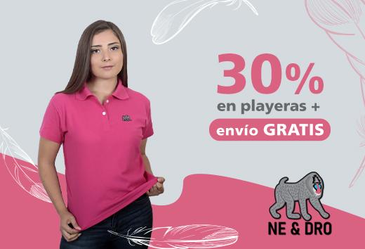 30% en playeras+ envíoGRATIS