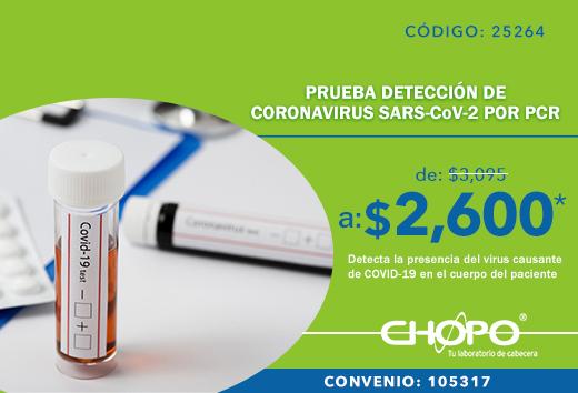 Prueba por PCR COVID -19 $2,600