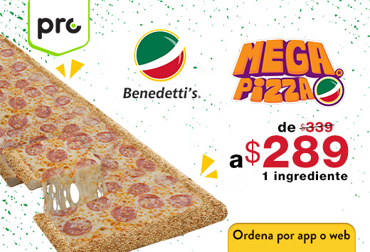 Mega pizza 1 ingrediente $289