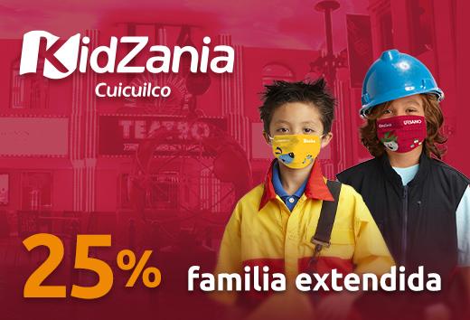 25% entradas para 4 niños + 2 adultos