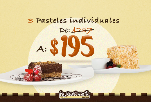 3 pasteles individuales por $195