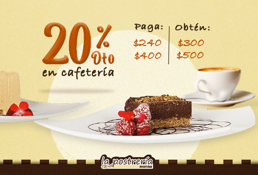 20% en tu consumo cafetería