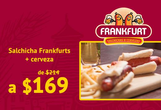 Salchicha Frankfurts + cerveza a $169