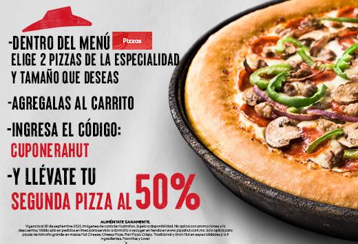 50% en tu segunda pizza