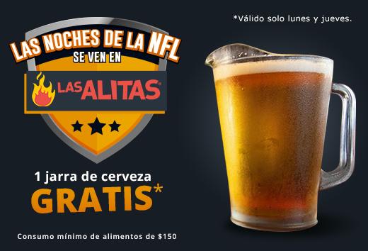 Jarra de cerveza gratis lunes y jueves